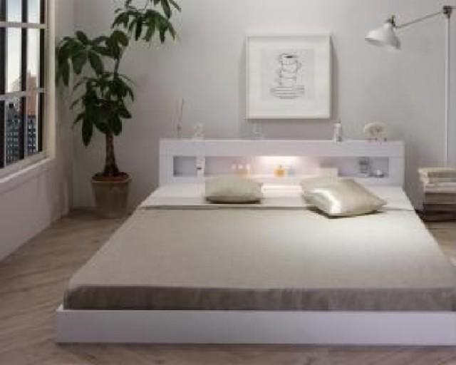 シングルベッド 棚付 マットレス付き ホワイト 白...