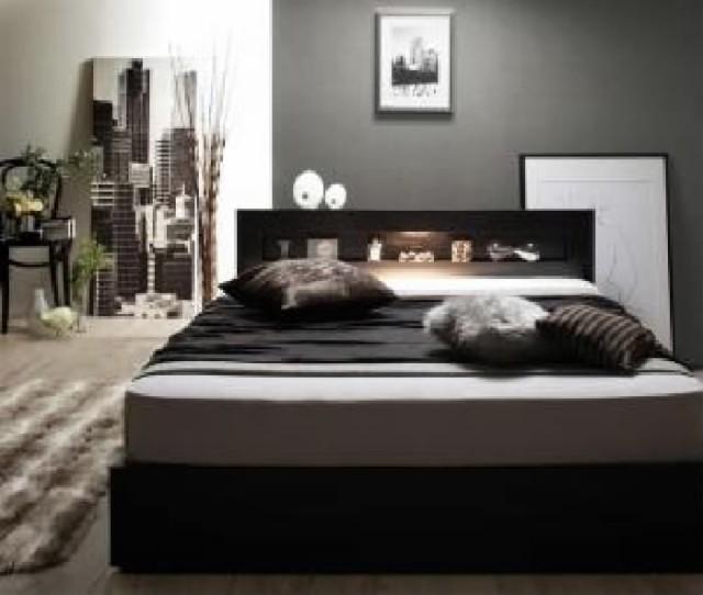 シングルベッド 棚付 マットレス付き ブラック 黒...