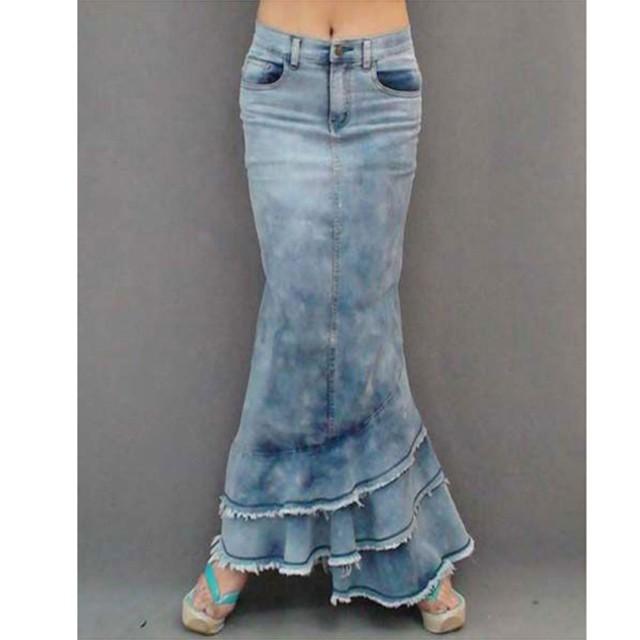 4月中旬発送 デニムスカート 大きいサイズ ロングスカート スカート デニム マーメイドスカート 無地 シンプル マキシ丈スカート ロング