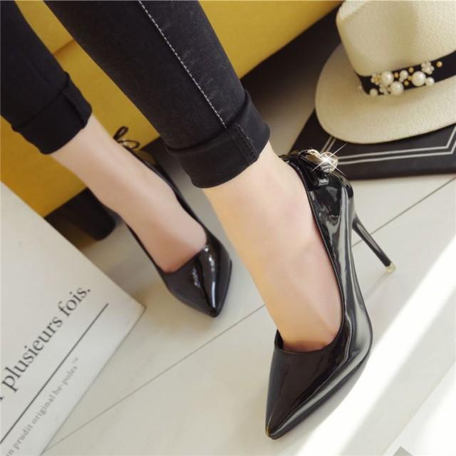 2018春新作 大きいサイズ 春 新作 靴 パンプス 10cm ヒール リボン チャーム付 レディース シューズ (G13-010)