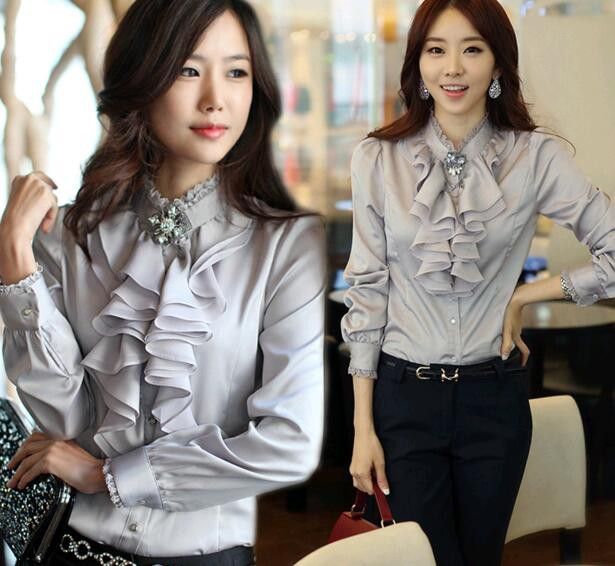 b33edf454fdb5 大きいサイズ ブラウス レディースシャツ 上着 トップス 長袖 婦人服 オフィス カジュアル キレイめ 韓国