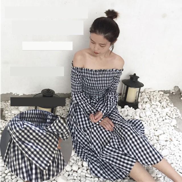 facb21a61b84c ギンガムチェック ワンピース オフショルダー チェック ロングワンピース ミディアム 袖ボリューム 韓国 ファッション プチプラ