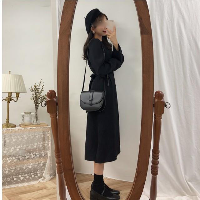 韓国 ファッション レディース 秋 エレガント 大人きれい ワンピース 長袖 フレアワンピース フレア レトロ ハイウエスト きれいめ レデ