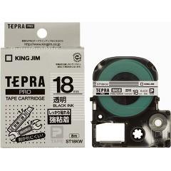 テプラ・プロ テープカートリッジ 強粘着透明ラベル 黒文字 18mm ST18KW(1コ入)[ラベルライター]