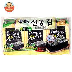 【送料無料】白子のり オリーブオイル韓国伝統のり 3袋詰(8切8枚)板のり3枚×12個入