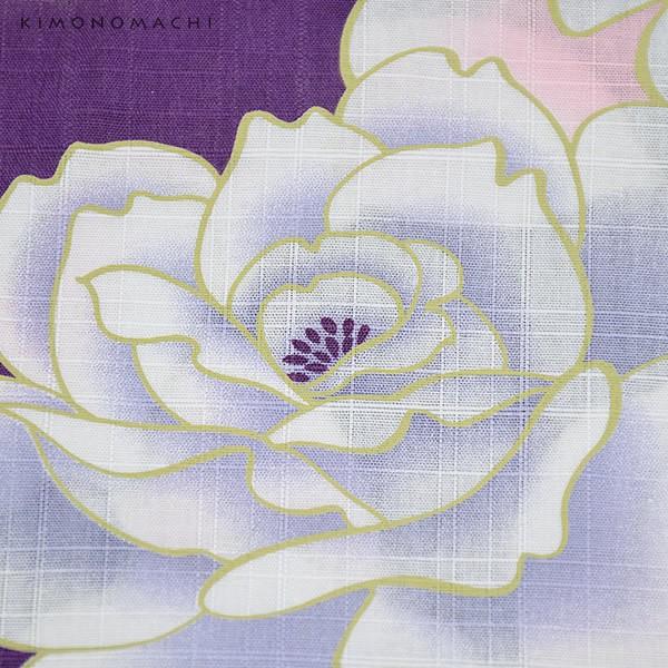 【あす着対応】 京都きもの町オリジナル 浴衣単品「パープル 薔薇」女性浴衣 綿浴衣 レトロ