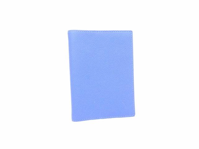 【定番人気】【中古】エルメス 手帳カバー  1本ピン レディース メンズ ブルーxシルバー金具 e32387
