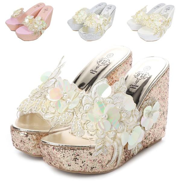 サンダル ウェッジソール 花柄 ボタニカル 刺繍 レース 厚底 靴 シューズ レディース ホワイト ピンク シルバー ゴールド SALE セール