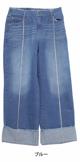 L~4L/ロング丈 センター フリンジ デニム パンツ 裾の折り返しが可愛い■ボトムス L LL 3L 4L [10249289/249289] 大きいサイズ