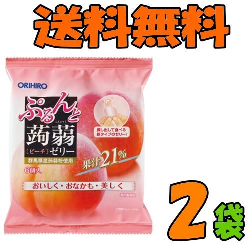 【ゆうパケット送料無料】オリヒロ ぷるんと蒟蒻ゼリー【パウチ】 ピーチ 2袋