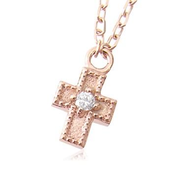 91c1b43bfbc46c k10天然ダイヤモンド0.01ctクロスネックレス 【ネックレス】【necklace】【首飾り】