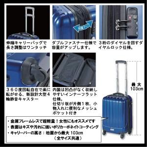 【送料無料】 トラベルスーツケースS[TSAダイヤルロック]