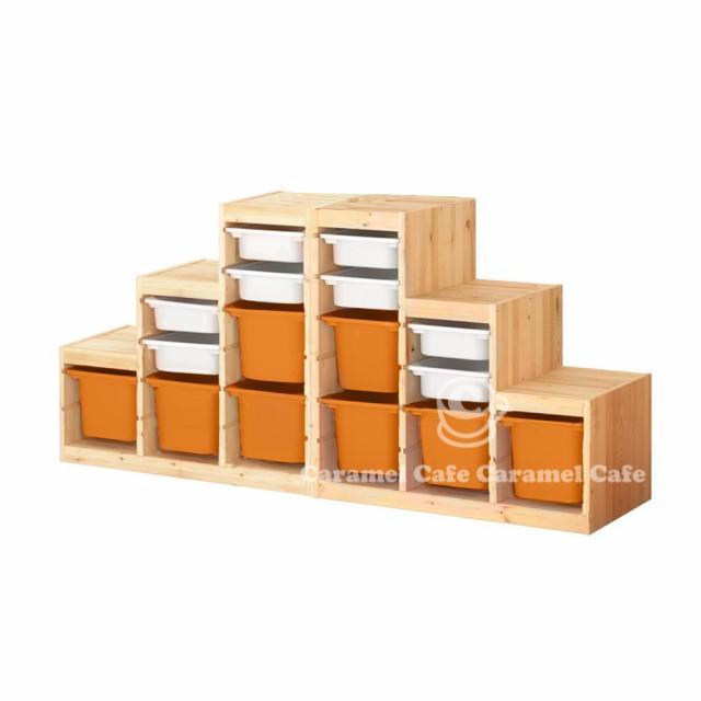 数量は多い  ホワイト/オレンジ188x44x91 cm PK2-WS8O8 送料無料【IKEA】TROFAST(トロファスト)収納コンビネーションパイン材-ベビー