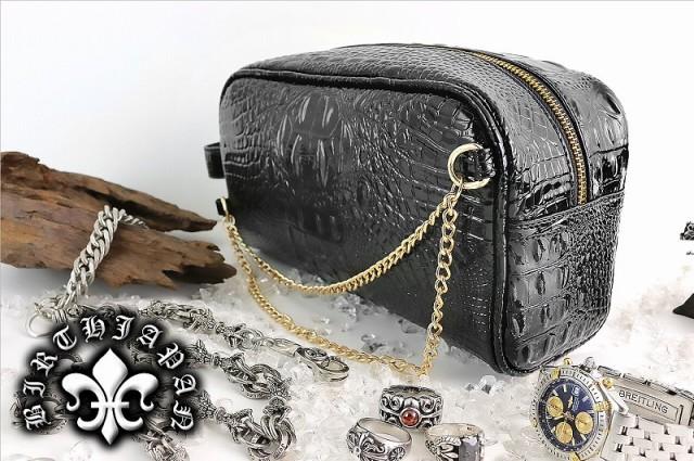 鞄15015黒/ヤクザ&アウトローブランド クロコ型押しセカンドバッグ■メンズ/蛇パイソンヘビワニ/悪羅悪羅系オラオラ系ヤンキーチンピラ