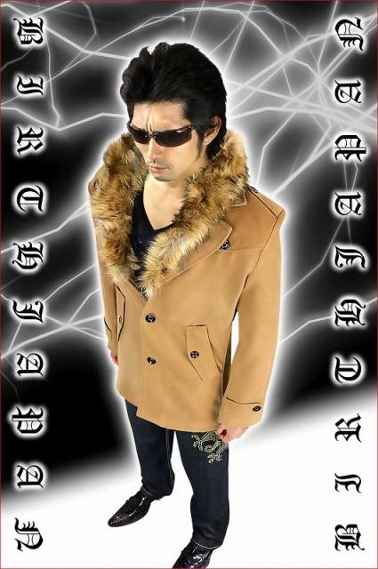 ジャケット オラオラ系 黒 秋冬物 ファ―付きコート メンズ メンナク 服 悪羅悪羅系 ホスト 100 お兄系 ファッション