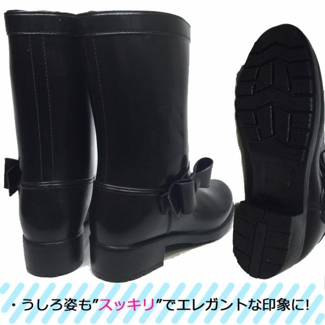 レインブーツ リボン レディース レインシューズ 女性 防水 長靴 雨靴 かわいい ショート ラバーブーツ 梅雨 台風 雪 黒 ブラック