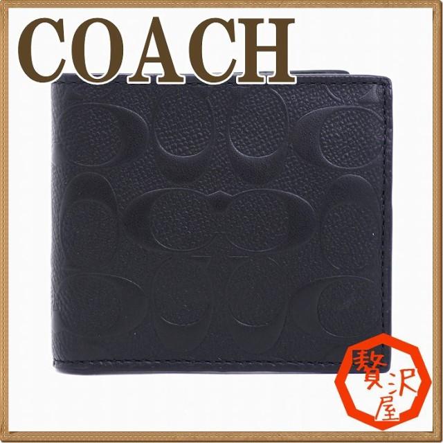 f64887524ec2 コーチ COACH 財布 メンズ 二つ折り財布 レザー 小銭入れ付 シグネチャー 75363BLK【tem_b】