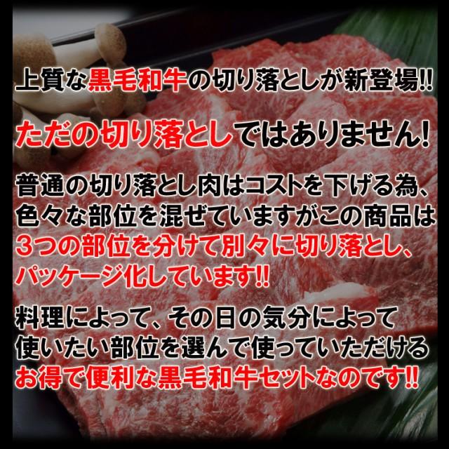 【送料無料】黒毛和牛肉3種食べ比べセット合計300g(100g×3パック)/切り落とし/カルビ・モモ・肩(沖縄・離島配送不可)