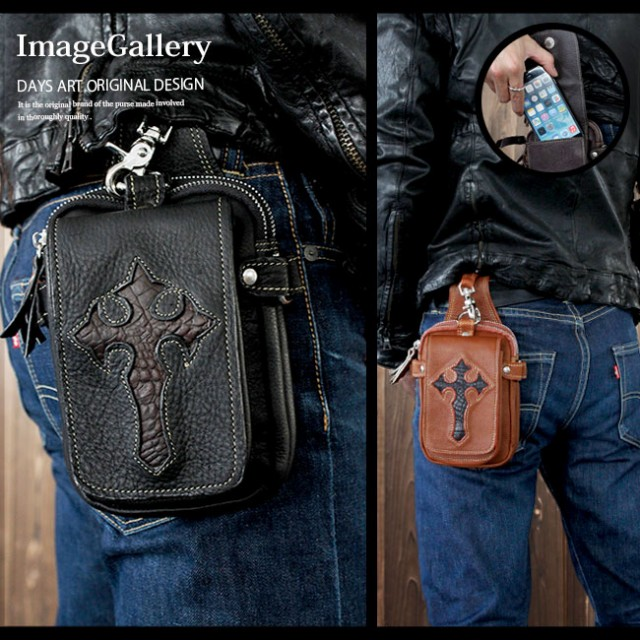 【送料無料】本革 型押しクロコダイル レザーウエストバッグ メンズバッグ バイカー 牛革 ヒップバッグ レザーバッグ