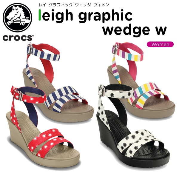 【35%OFF】クロックス(crocs) レイ グラフィック ウェッジ ウィメン(leigh graphic wedge w) /レディース/女性用/ヒール[C/B]