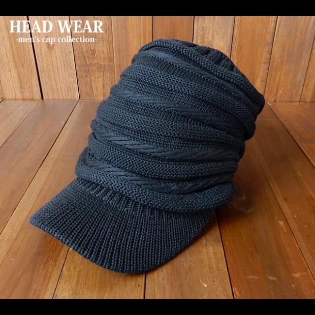 メンズ ニット帽 プリーツ ハイゲージ 帽子【メール便不可】