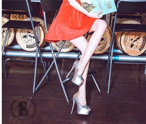 【エルエス】【0324NEW】リボン パンプス/オープントゥ/ピンヒール/合皮/美脚/厚底/ハイヒール