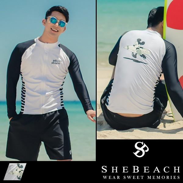 即納 水着 メンズ ラッシュガード サーフパンツ 2点セット 韓国ブランド SHEBEACH シービーチ 正規品 体型カバー ミッキーマウスの通販 はWowma!