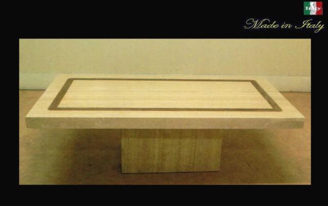 イタリア製 天然大理石のセンターテーブル トラバーチンインレー