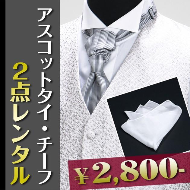 b32266f407b92  アスコットタイ・ポケットチーフ 2点セット レンタル フォーマル グレー タキシード レンタル vest
