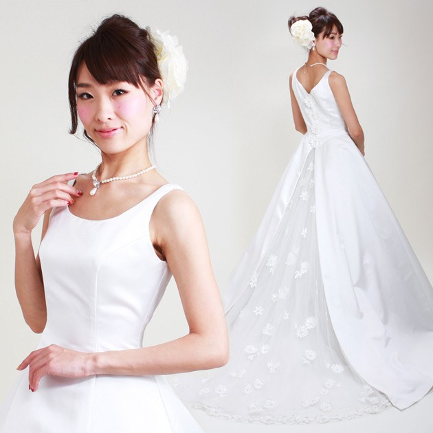 7823f67d9fcfb ウェディングドレス レンタル 6号-7号  Aライン ウエディングドレス ...