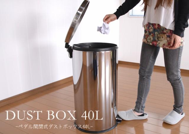 ≪在庫処分セール≫ステンレス製 フタ付 ペダル式 ダストボックス 40L シルバー ゴミ箱 ごみ箱 フタ ペダル