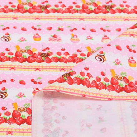ときめきスイーツお菓子な時間(ピンク) オックス生地 (布地タイプ) T0067700