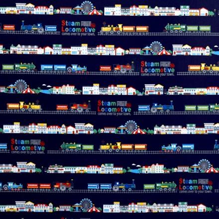 欧州巡る機関車の旅(ネイビー) ラミネート0.2mm生地 T0274200