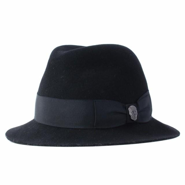 lucien pellat-finet (ルシアンペラフィネ) スカルバッジ付きウール中折れハット 美品 ブラック L 【K1819】