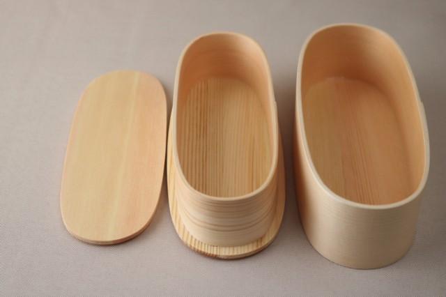 【木の器】 天然木製曲げわっぱ弁当箱 スリム型二段弁当箱 ナチュラル 弁当箱 ランチタイム ランチボック WK-FH22W