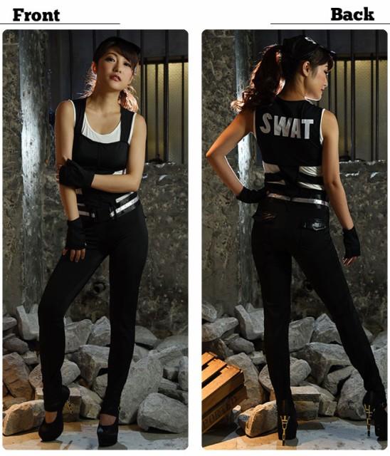 ハロウィン 衣装 SWAT コスチューム 4点セット(つなぎ・帽子・ベルト・手袋)※メール便発送不可SWAT
