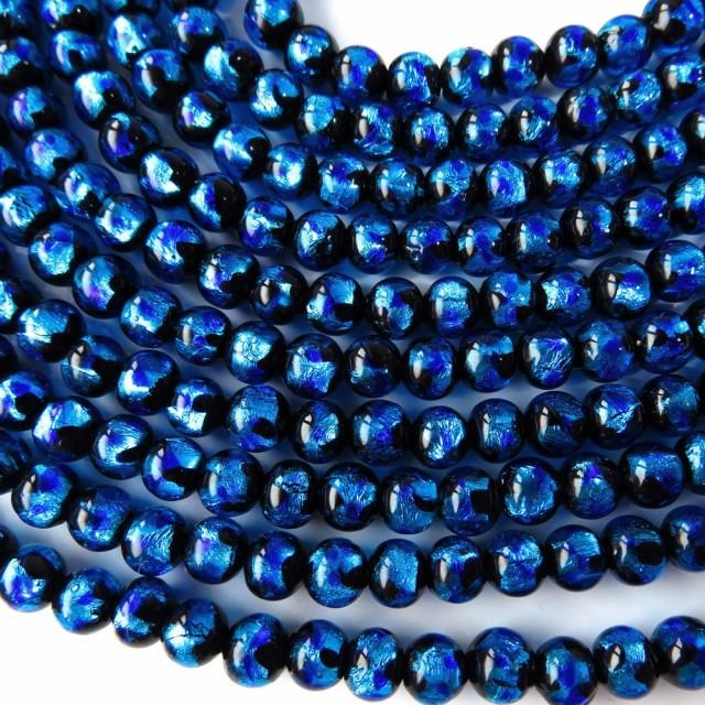卸販売 ホタルガラス一連 ビーズ6mm 長さ約40cm ブルー とんぼ石 沖縄で大人気のお土産アイテム