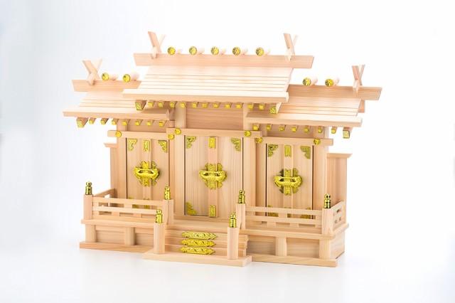 【神棚】屋根違い三社なごみ(中)神棚セット(神棚神具)【神棚 送料無料】