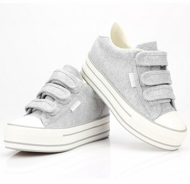 レディースファッション シューズ 靴 スニーカー ハイカット 面ファスナー マジックテープ 帆布 フラットソール 厚底 韓国風 履きやすい