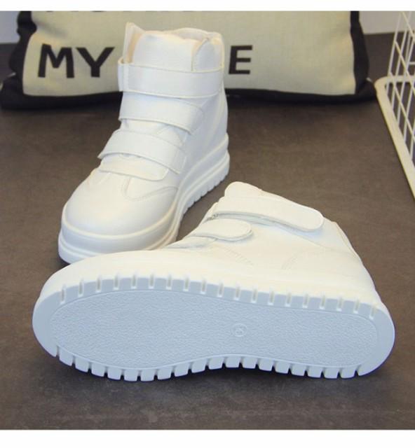 レディースファッション シューズ 靴 スニーカー ハイカット 面ファスナー マジックテープ 合皮 本革風 ボリューム感