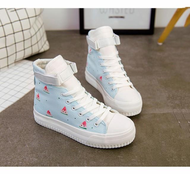 レディースファッション シューズ 靴 スニーカー ハイカット 面ファスナー マジックテープ 帆布 スイカ柄 厚底 韓国風