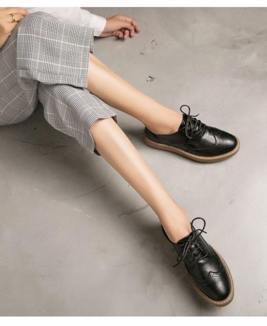 レディースファッション シューズ 靴 合皮 レースアップ ひも フラット ローヒール ローファー デザイン感 通勤にも使える 発表会