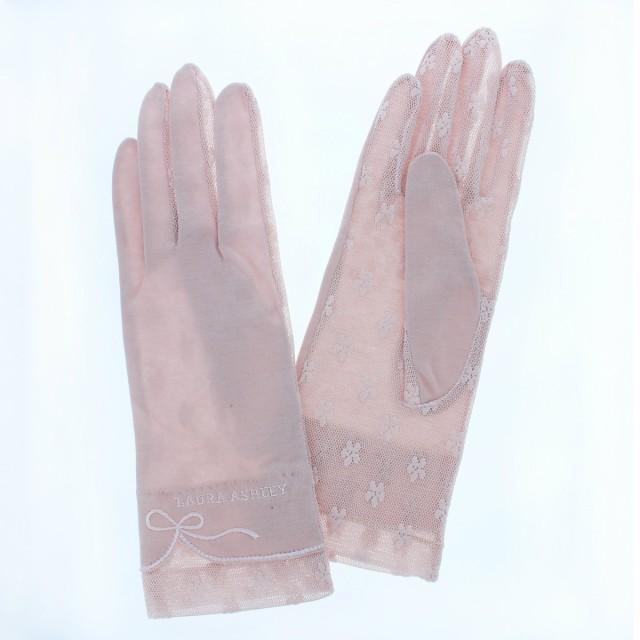 ローラ アシュレイ LAURA ASHLEY UVカット UV手袋 ショート 25cm 掌側メッシュ すべり止め付 ひんやり触感 保湿効果 女性用21~22cm(M)