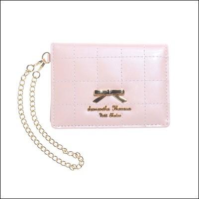サマンサタバサ プチチョイス キルティングリボンプレート パスケース 定期入れ ピンク