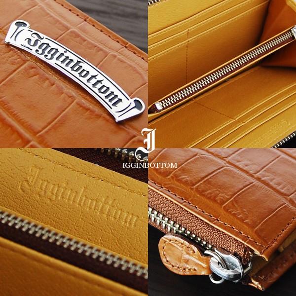 美しいクロコダイル型押しが魅力メタルプレート牛革Lファスナーウォレット長財布☆キャメル