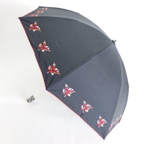【晴雨兼用99.99%遮光効果・遮熱効果】折たたみ傘/ポンシー1級遮光生地 5色花刺繍傘(27-6474) 【送料無料】 (アンブレラ、雨傘、日