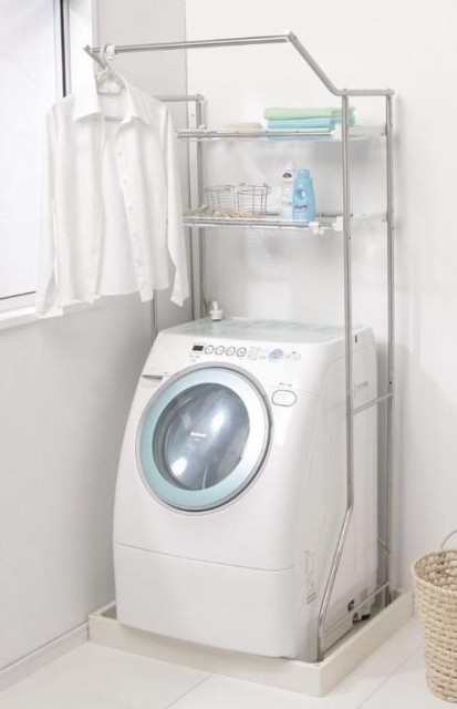 ハンガーバー付ステンレスランドリーラック  HSL-181 (W650~1000×D585×H1760)【送料無料】(洗面収納、収納家具、洗濯機