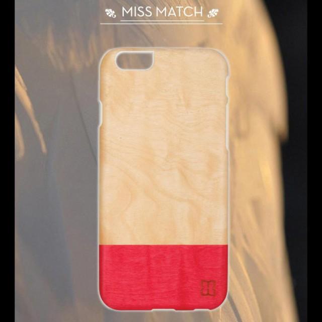 ●[]≪iPhone6≫天然木リアルウッドハードケース/ミスマッチ/ホワイトフレーム/4.7インチ/アイフォン6カバー/スマホケース