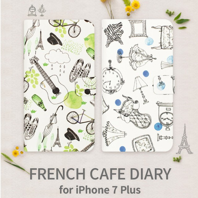 Iphone7plushappymori フレンチカフェ 手帳型ケース手書き風