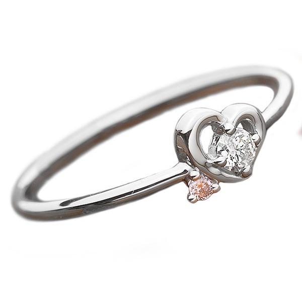 【予約販売品】 ダイヤ 鑑 ダイヤモンド 指輪 リング 8号 ピンクダイヤ ハートモチーフ プラチナ 合計0.06ct ダイヤリング Pt950-指輪・リング